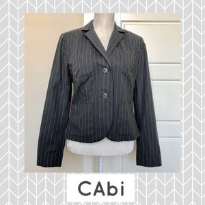 CAbi Nob Hill Pin Striped Blazer Gray & White